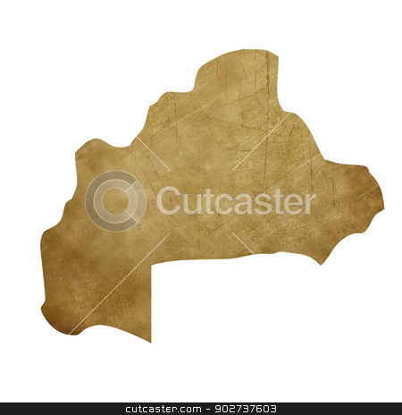 Burkina Faso grunge treasure map stock photo, Burkina Faso grunge map in treasure style isolated on white background. by Martin Crowdy