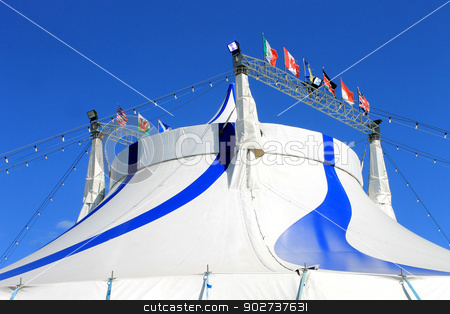 Circus big top tent 2 stock photo, Circus big top tent in blue and white. by Martin Crowdy