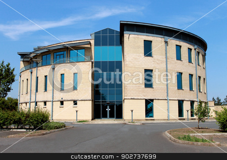 Empty modern office building stock photo, Exterior of empty modern office building for let or rent. by Martin Crowdy