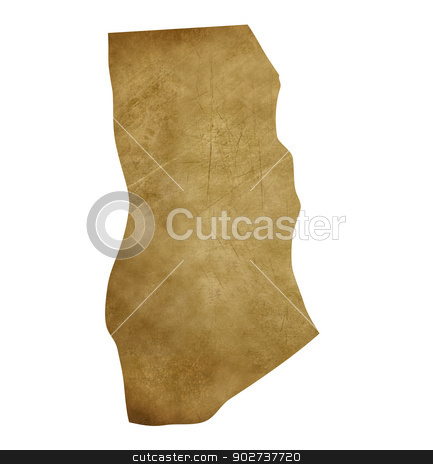 Ghana grunge treasure map stock photo, Ghana grunge map in treasure style isolated on white background. by Martin Crowdy