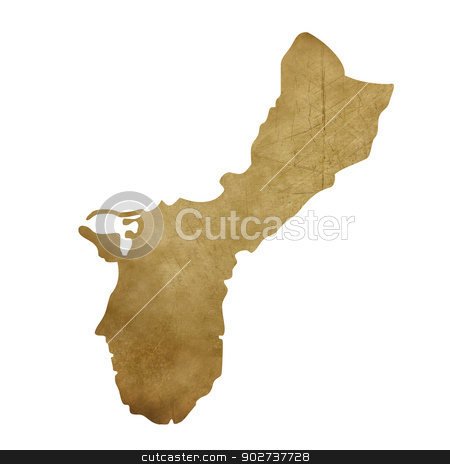 Grunge Guam treasure map stock photo, Grunge Guam map in treasure style isolated on white background. by Martin Crowdy