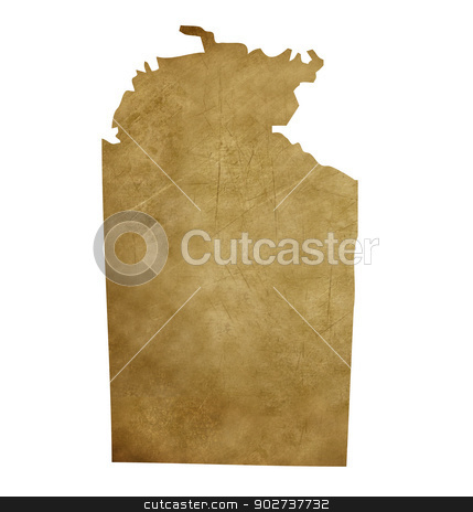 Grunge Northern Territory treasure map stock photo, Grunge Australia Northern Territory map in treasure style isolated on white background. by Martin Crowdy