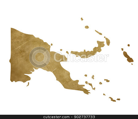 Grunge Papa New Guinea treasure map stock photo, Grunge Papa New Guinea map in treasure style isolated on white background. by Martin Crowdy