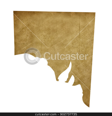 Grunge Southern Australia treasure map stock photo, Grunge Southern Australia map in treasure style isolated on white background. by Martin Crowdy