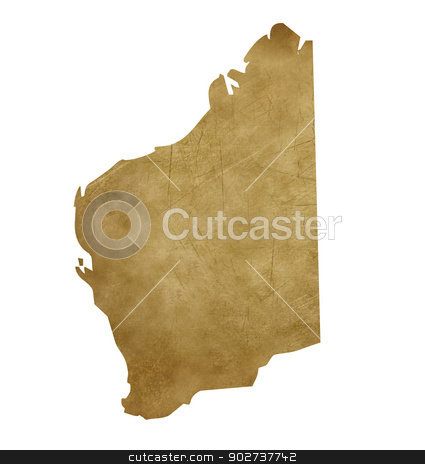 Grunge Western Australia treasure map stock photo, Grunge Western Australia map in treasure style isolated on white background. by Martin Crowdy