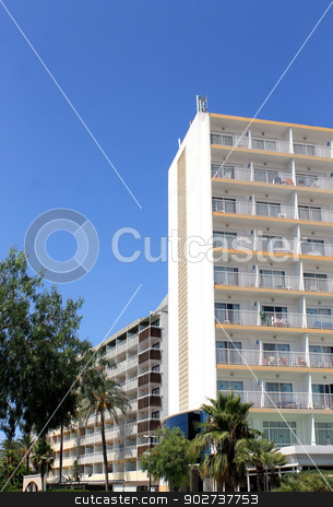 Hotel buildings and blue sky stock photo, Exterior of hotel buildings on island of Majorca, Spain. by Martin Crowdy