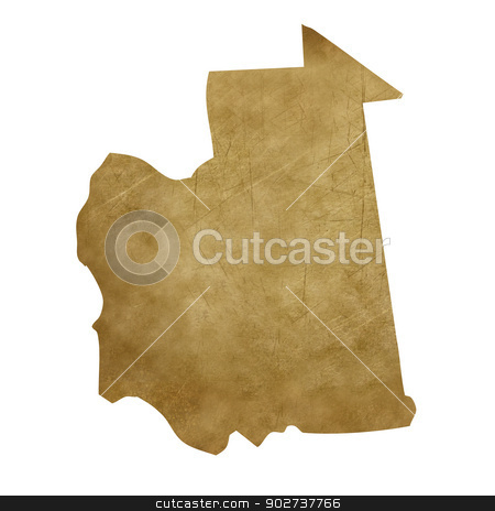 Mauritania grunge treasure map stock photo, Mauritania grunge map in treasure style isolated on white background. by Martin Crowdy
