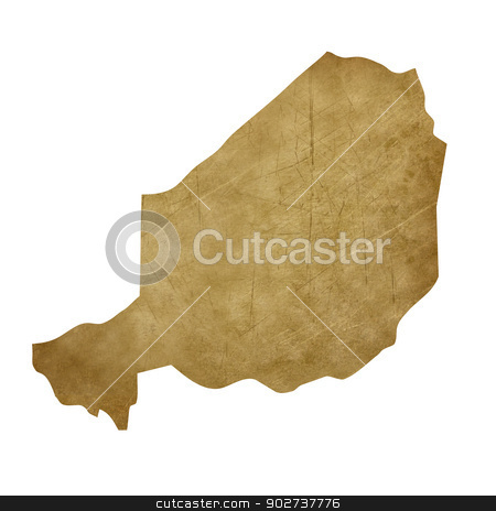 Niger grunge treasure map stock photo, Niger grunge map in treasure style isolated on white background. by Martin Crowdy