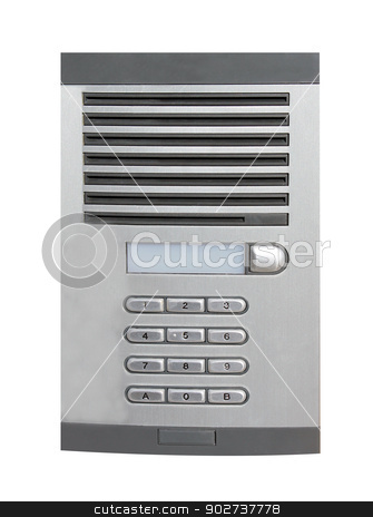 Office intercom stock photo, Office intercom isolated on a white background. by Martin Crowdy