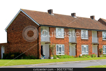 Row of English Terrace houses stock photo, Row of English Terrace houses isolated on a white background. by Martin Crowdy