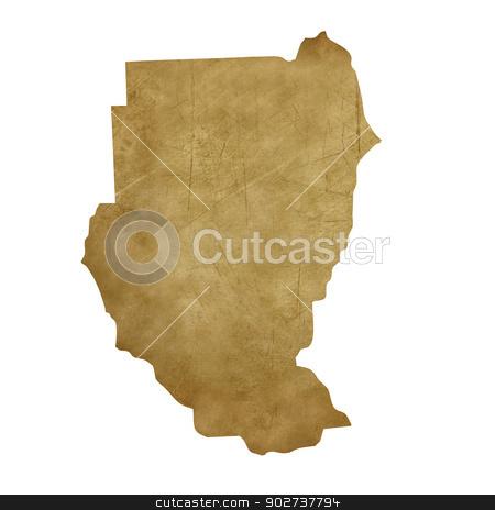 Sudan grunge treasure map stock photo, Sudan grunge map in treasure style isolated on white background. by Martin Crowdy