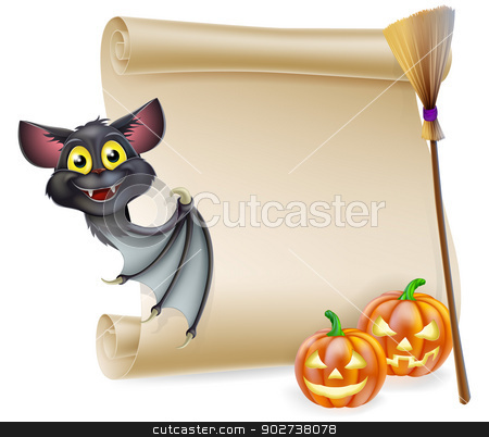 Halloween scroll with space stock vector clipart, An illustration of a Halloween scroll with space for your message and witches cats and broomstick and cartoon bat by Christos Georghiou
