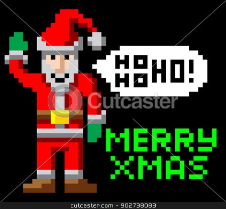 Retro pixel art Christmas Santa stock vector clipart, Retro arcade 8-bit video game style pixel art Christmas Santa waving with Merry Xmas message by Christos Georghiou