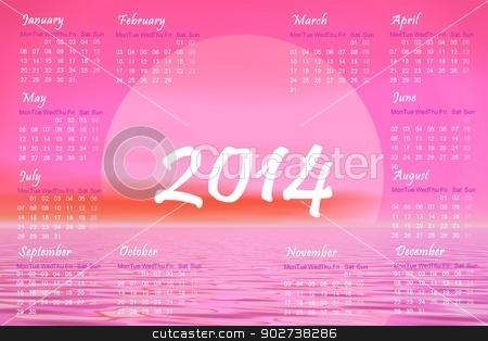 Pink sunset 2014 calendar - 3D render