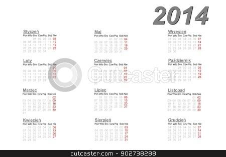 Polish calendar for 2014