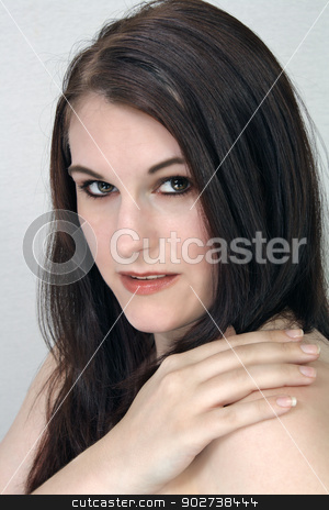 Beautiful, Brunette Headshot stock photo, A close-up of a lovely young brunette. by Carl Stewart