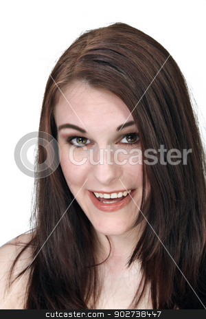 Beautiful, Smiling Brunette Headshot stock photo, A close-up of a lovely young brunette with a bright, warm smile.  Isolated on a white background. by Carl Stewart