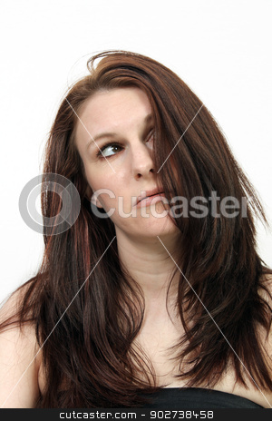 Beautiful, Frazzled Brunette stock photo, A close-up of a beautiful young brunette who appears to be tired, frustrated, or frazzled. by Carl Stewart
