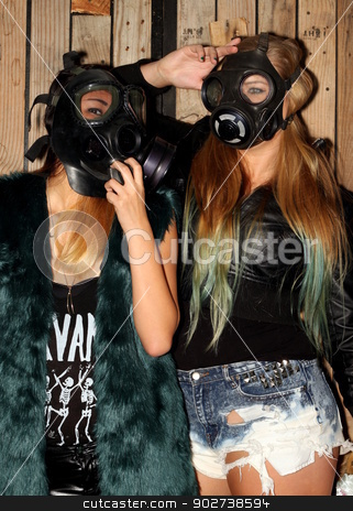 Women with gasmasks stock photo, Two women in front of a wooden wall with gasmasks. by Henrik Lehnerer