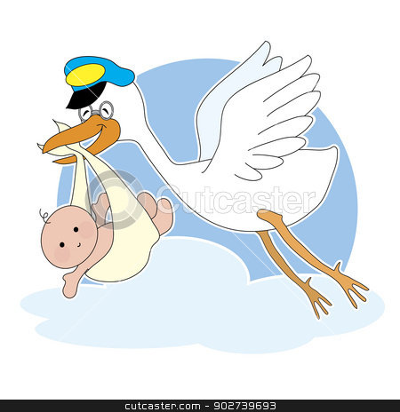 Stork and Baby stock vector clipart, A stork is flying with a baby in it's beak by Maria Bell