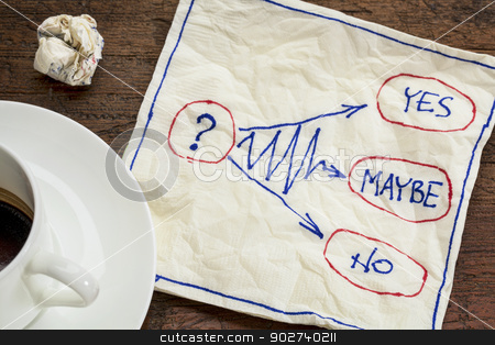 yes, no, maybe - hesitation concept stock photo, yes, no, maybe - hesitation or decision concept - napkin doodle with a cup of coffee by Marek Uliasz