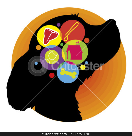 Dog Brain stock vector clipart, A silhouette of a dogs head with icons representing the things he may be thinking about, food, home,playing and treats by Maria Bell