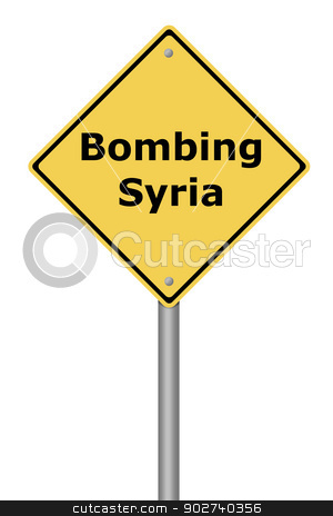 Warning Sign Bombing Syria stock photo, Yellow warning sign with the text Bombing Syria. by Henrik Lehnerer