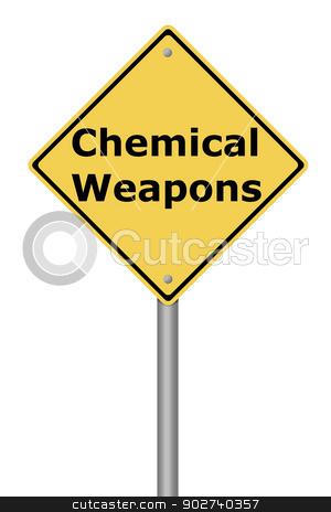 Warning Sign Chemical Weapons stock photo, Yellow warning sign with the text Chemical Weapons. by Henrik Lehnerer