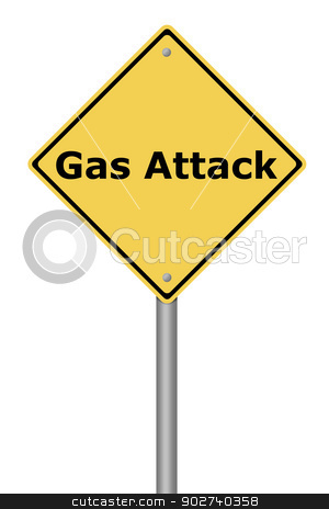 Warning Sign Gas Attack stock photo, Yellow warning sign with the text Gas Attack. by Henrik Lehnerer