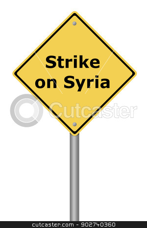 Warning Sign Strike on Syria stock photo, Yellow warning sign with the text Strike on Syria. by Henrik Lehnerer
