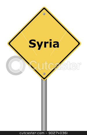Warning Sign Syria stock photo, Yellow warning sign with the text Syria. by Henrik Lehnerer
