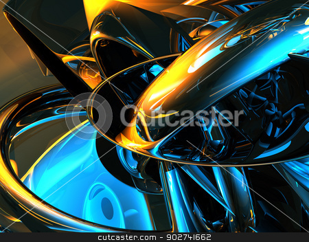 futuristic background stock photo, futuristic metal background - 3d illustration by J?