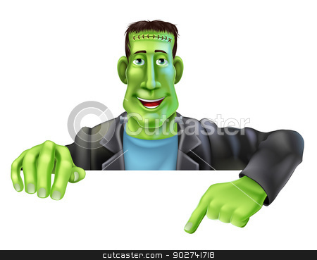 Frankenstein Witch Pointing Down stock vector clipart, Drawing of a friendly cartoon Frankenstein man peeping over a sign and pointing  by Christos Georghiou