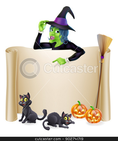 Halloween Witch Scroll Banner stock vector clipart, A Halloween scroll sign with a witch character above the banner and pumpkins, witch's cats, hat and broomstick by Christos Georghiou