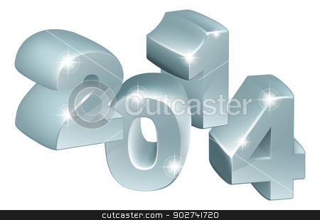Silver 3D 2014 Ornaments stock vector clipart, Illustration of 3D Silver 2014 number ornaments, could be used for new year designs or anything relating to the year 2014 by Christos Georghiou