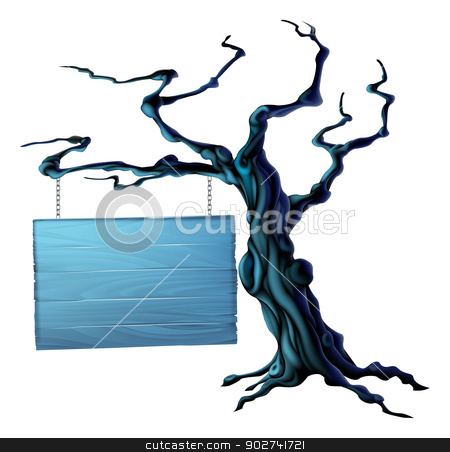 Halloween tree sign stock vector clipart, An illustration of a bare spooky scary Halloween tree with a suspended sign hanging from a chain on it by Christos Georghiou