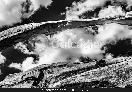 Landscape Arch Close up Black White Rock Canyon Devils Garden Ar stock photo, Landscape Arch Close Up Rock Canyon Black White Devils Garden Arches National Park Moab Utah USA Southwest. Longest and thinnest arch in the world. by William Perry