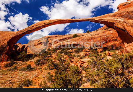 Landscape Arch Blue Skies Rock Canyon Devils Garden Arches Natio stock photo, Landscape Arch Blue Skies Rock Canyon Abstract Devils Garden Arches National Park Moab Utah USA Southwest. Longest and thinnest arch in the world. by William Perry