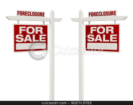 Two Foreclosure For Sale Real Estate Signs with Clipping Path stock photo, Pair of Left and Right Facing Foreclosure For Sale Real Estate Signs With Clipping Path Isolated on White. by Andy Dean