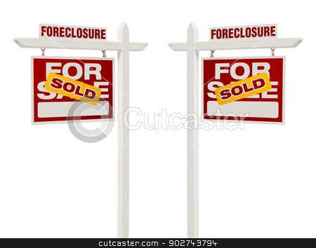 Two Foreclosure Sold For Sale Real Estate Signs, Clipping Path stock photo, Pair of Left and Right Facing Sold Foreclosure For Sale Real Estate Signs With Clipping Path Isolated on White. by Andy Dean