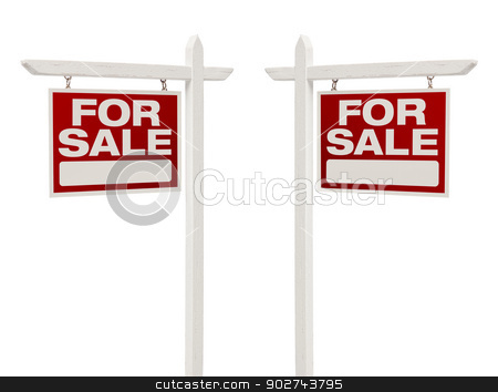 Pair of For Sale Real Estate Signs With Clipping Path stock photo, Pair of Left and Right Facing For Sale Real Estate Signs With Clipping Path Isolated on White. by Andy Dean