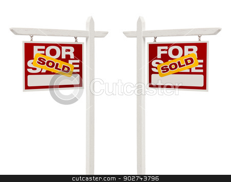 Pair of Sold For Sale Real Estate Signs, Clipping Path stock photo, Pair of Left and Right Facing Sold For Sale Real Estate Signs With Clipping Path Isolated on White. by Andy Dean
