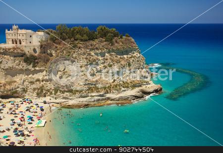 Scenic view in Tropea stock photo, Scenic landscape with beach and Tropea peninsula by Natalia Macheda