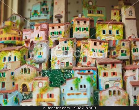 Tropea architecture as souvenirs stock photo, Typical tropean souvenirs as tropean houses in characterstic style by Natalia Macheda