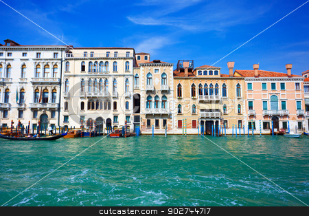 Venetian style stock photo, View on typical venetian buildings from the waterside of Grand Canal in Venice by Natalia Macheda