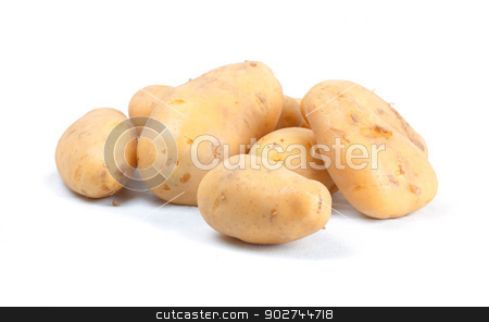 Pile of potatoes stock photo, Pile of potatoes isolated on white background by Natalia Macheda