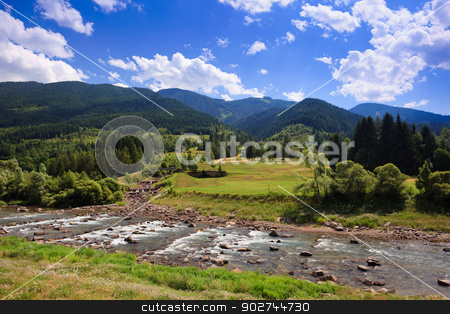 Alpine landscape stock photo, Peaceful alpine plateau with fir-trees, blue sky and river by Natalia Macheda