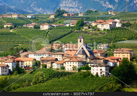 Tassullo stock photo, Teleshot of Tassullo town among apple gardens of italian region Trentino Alto Adige South Tyrol by Natalia Macheda