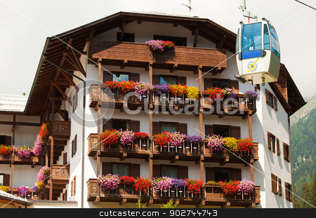 Madonna di Campiglio in sumere stock photo, Typical architecture in Madonna di Campiglio ski resort, summer version by Natalia Macheda