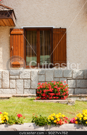 Rustic window stock photo, Rustic window decorated with flowers in Madonna di Campiglio by Natalia Macheda